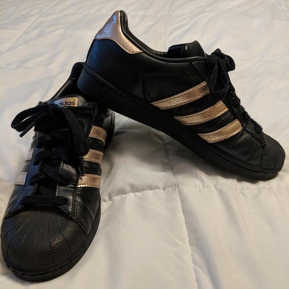 Superstar Adidas Black with Rose Gold stripes